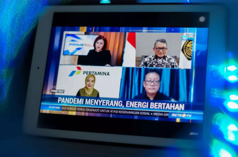 Menteri Energi dan Sumber Daya Mineral Arifin Tasrif saat rapat virtual membahas rencana penyesuaian tarif, Senin (15/9/2020)
